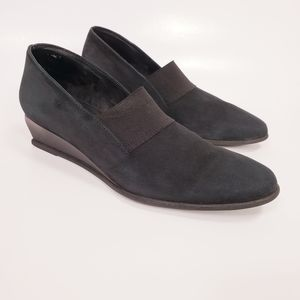 Arche Emyone Wedge Noir Black Nubuck Leather Shoes